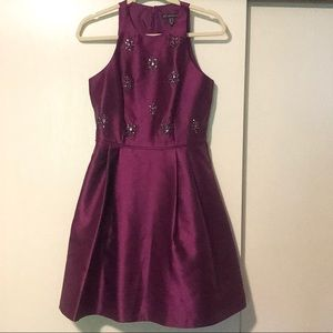 Adrianna Papell Plum Dress with Accents. Size 6.